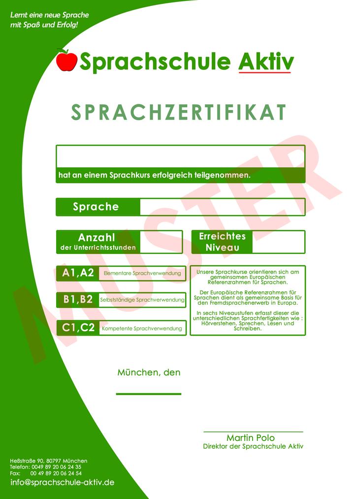 Zertifikat für Deutsch, Englisch, Spanisch
