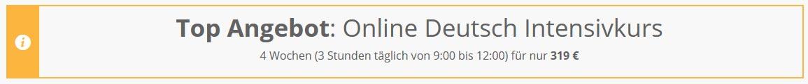 TOP ANGEBOT. Online Deutsch Intensivkurs in München